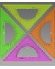 Треугольник с транспортиром 16см45* NEON Cristal ассорти 1/100 ТК610