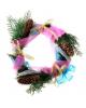 Декоративный венок 'Кипарис' 30см.шишки,цветные ленты 150684