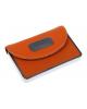 Визитница металл к/зам гориз оранжевая с вставкой 1096909