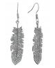 Серьги со стразами 'Перо в камнях' цвет белый в серебре 1257864