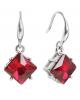 Серьги со стразами 'Ромбик' грани цвет красный в серебре 1358565