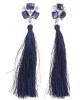Серьги ассорти 'Кисти' длинные цвет темно синий в серебре  1508972