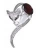 Брошь 'Лиса' изгиб цвет сливовый в серебре 1489319
