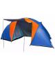 Палатка кемпинговая 4-местная 2-слойная Jesoio цвет оранжево -синий  (150+130+150)*220*170  805-066