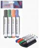 Маркер д/маркерных досок /набор 4 цв/ 5мм круг+магнитная стирательная губка deVENTE 5040700