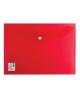 Папка -конверт на кнопке A4 Brauberg плотная 180мкм до 100 л. прозрачная красная 224812